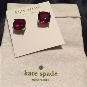 Kate Spade Ruby Red Gold Stud Earrings